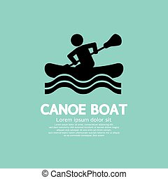 Man Row A Canoe Boat. - Man Row A Canoe Boat Vector...