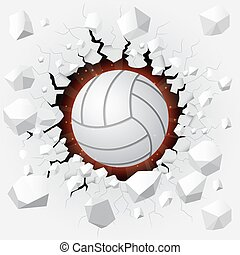 Volleyball - Illustration of volleyball and with wall damage