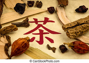 tea traditional chinese medicine - ingredients for a cup of...
