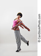 Modern dance girls - Modern Female dancer in motion. Studio...