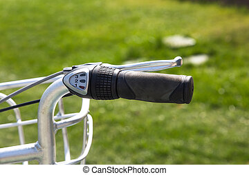 Bicycle Handle Bar - Close up detailed front view of black...