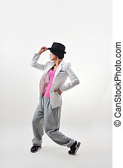 street dancing - Female hip hop dancer in motion. Studio...