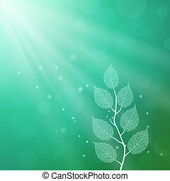 Elegant illustration with spring leafs on a turquoise...