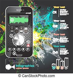 set of infographics for smartphone applications on the theme of the explosion of music