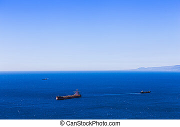 Empty container cargo ship and vessels