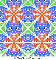 Symmetrical fractal pattern in stained-glass window style. Red, blue and green palette. On white.