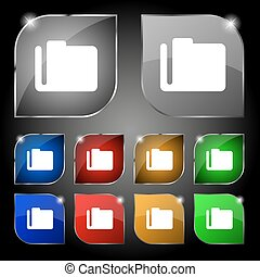 Document folder icon sign. Set of ten colorful buttons with glare. Vector