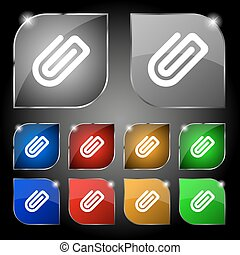 Paper Clip icon sign. Set of ten colorful buttons with glare. Vector