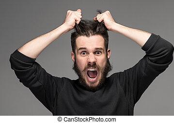 frustração, homem, rasgando, cabelo,...
