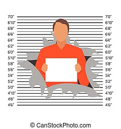 Prisoner in police lineup backdrop, illustration, vector
