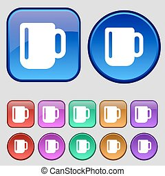 cup coffee or tea icon sign. A set of twelve vintage buttons for your design. Vector