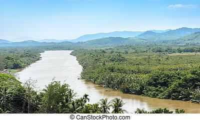Kra Isthmus, Kra Buri River forming a natural boundary...
