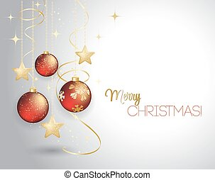 Merry Christmas  card with red bauble