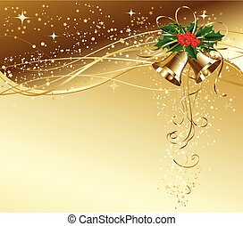 Christmas card with gold bells and holly - Vector Christmas...