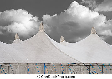 Circus Tents on a Fairground with Cumulus Clouds