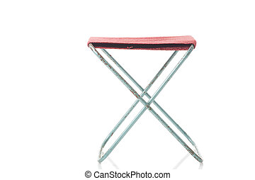 Simple folding canvas stool on white - Simple folding canvas...