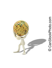 Globe Burden - Plasticine man with globe on his shoulders...