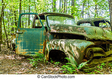 Open Door - An old grungy pickup truck with an open door