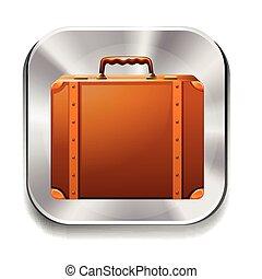 Briefcase - Brown briefcase on silver icon