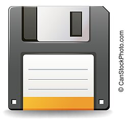 Floppy disc - Black color floppy disc on white background