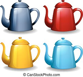 Kettles - Four different colors of kettles with plain design