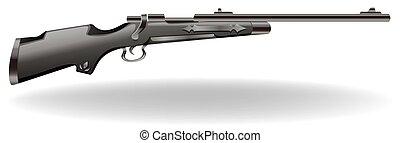 Rifle - Closeup classic design of black rifle