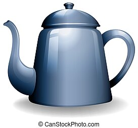 Kettle - Blue color kettle on white background