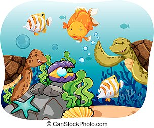 Aquatic animals at the sea bed