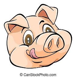 Pig Head - Smiling face of a pig on white background