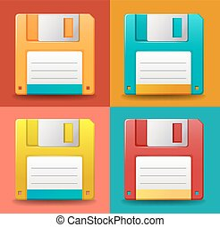 Floppy disc - Set of colorful floppy disc