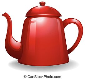 Kettle - Red color kettle on white background