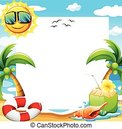 Beach poster - Blank poster with beach view at daytime