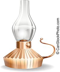 Oil lamp bronze color on white background