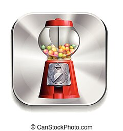 Gumball - Icon of a gumball machine on white background