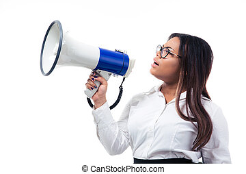 African businesswoman shouting in megaphone isolated on a...