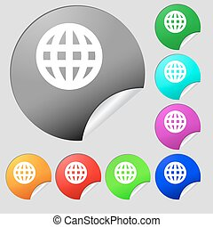 Globe, World map geography icon sign. Set of eight multi-colored round buttons, stickers. Vector