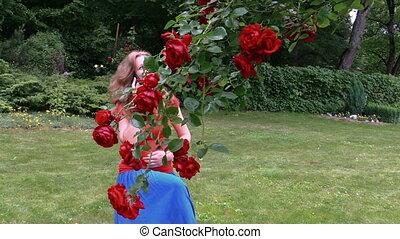 girl phone rose bush