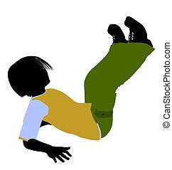 Caucasian Boy Illustration Silhouette - Caucasian boy...