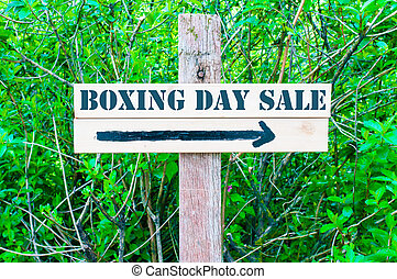BOXING DAY SALE Directional sign - BOXING DAY SALE written...