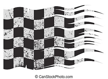 Wavy Checkered Flag Grunged - A wavy and grunged Checkered...