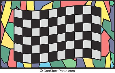 Checkered Stained Glass Window - A Checkered flag design on...