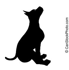 Puppy Dog Illustration Silhouette - Black puppy dog art...