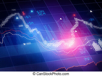 Stock Market Prices Candle stick stock market tracking graph...