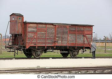 Deportation wagon at Auschwitz Birkenau at Auschwitz...