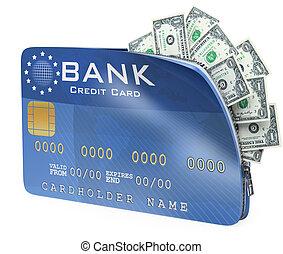 3D Credit card full of dollar bill