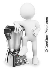 3D white people. Man with a modern food processor - 3d white...