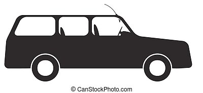 Estate Car Silhouette - An estate car silhouette isolated on...