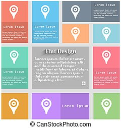 Map pointer, GPS location icon sign. Set of multicolored buttons. Metro style with space for text. The Long Shadow Vector