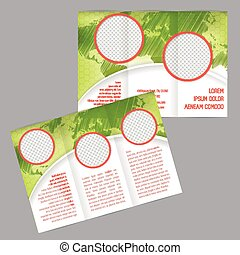 Tri-fold brochure design with world map and image containers