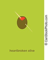 Heartbroken olive - Vecror illustration of a heartbroken...